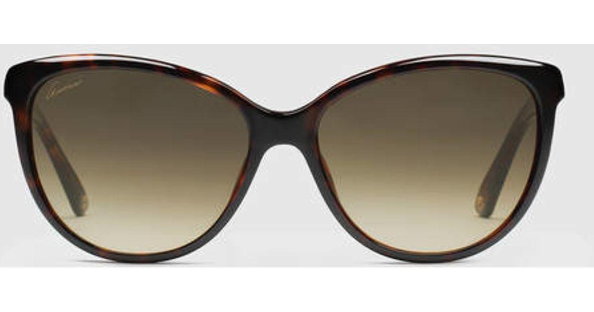 d277a5646a1c9 Gucci Cat-eye Diamantissima Sunglasses in Black - Lyst