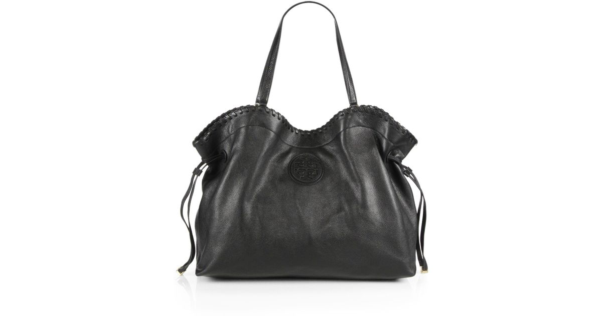 f0bb2204e7a80 Lyst - Tory Burch Marion Wide Slouchy Tote in Black