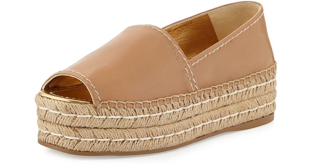 prada purses on sale - Prada Platform Peep-toe Espadrille in Beige | Lyst