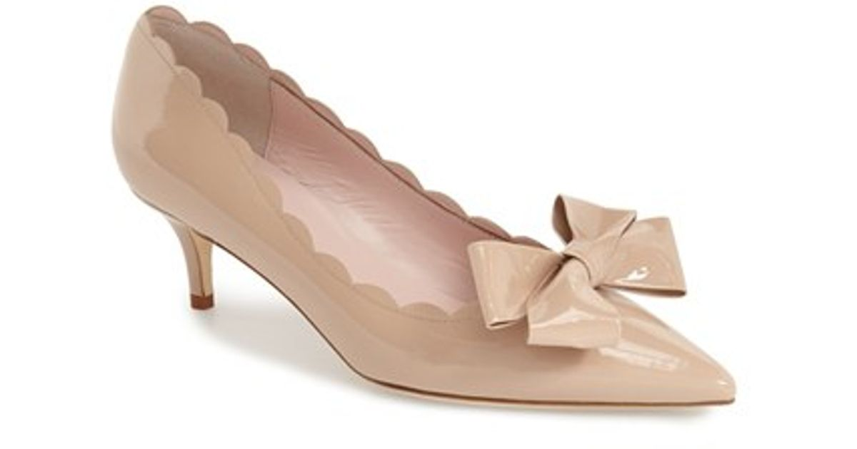 8f46529dc992 Lyst - Kate Spade Maxine Scalloped-Bow Patent Pumps in Natural
