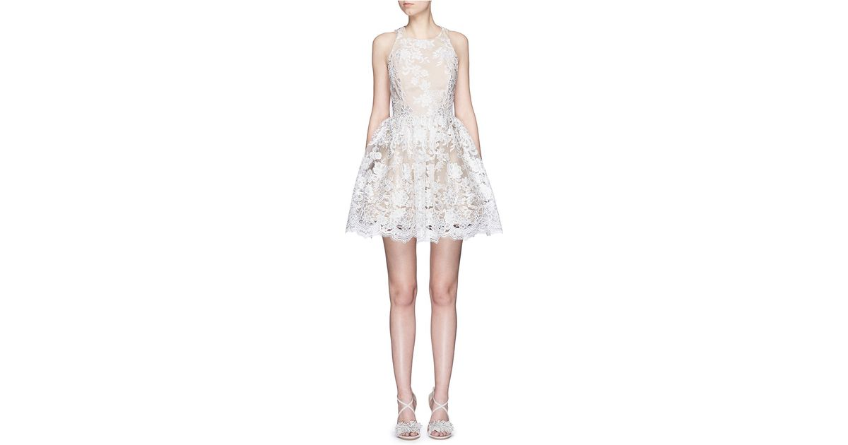 2c39e26982d4 Alice + Olivia Ladonna Floral Embroidery Racerback Party Dress in White -  Lyst