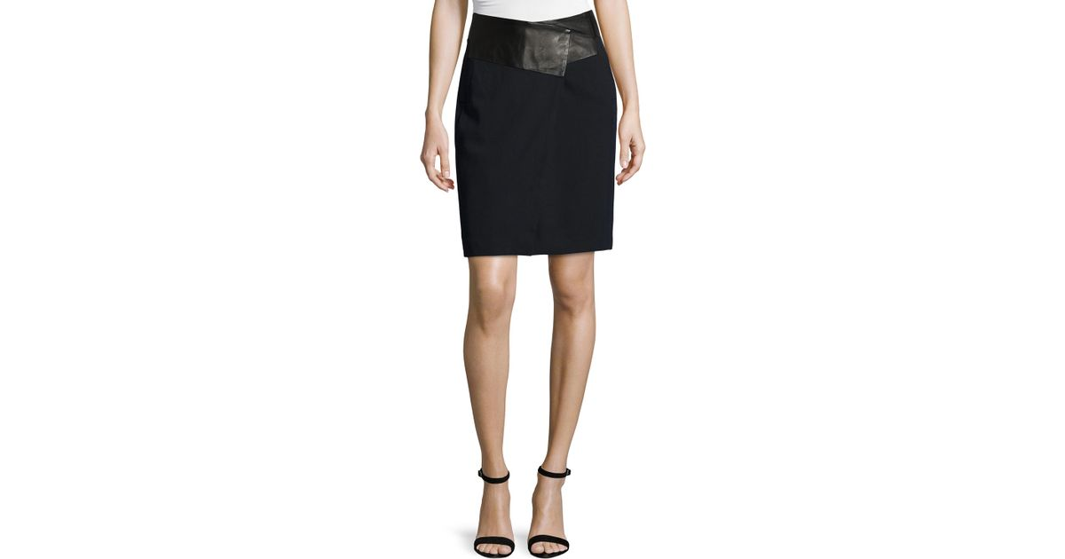 leather waist tailored pencil skirt in black lyst