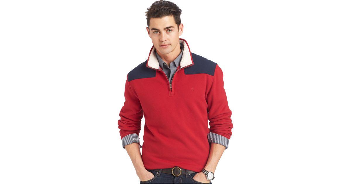 Izod Mock-neck Colorblocked Quarter-zip Fleece Sweater in Red for ...