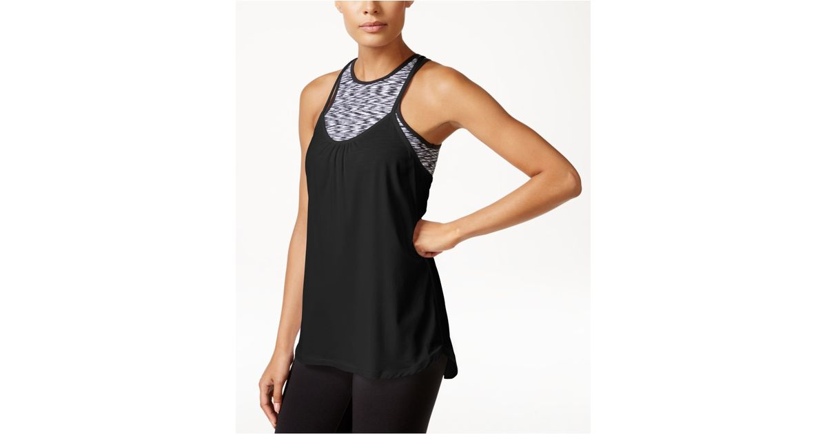 baa767dcc0 Lyst - Calvin Klein Performance Racerback Tank Top With Sports Bra in Black