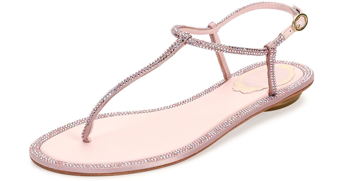 8180b2cd3cff Lyst - Rene Caovilla Crystal Flat Thong Sandal in Pink
