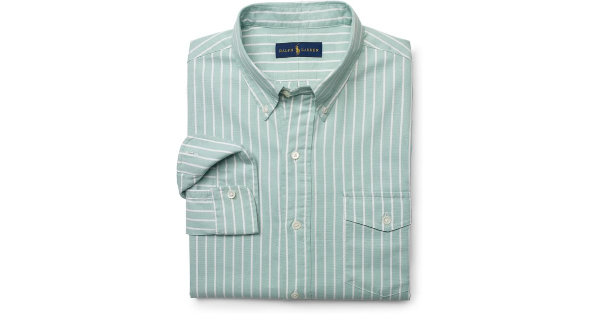 Polo ralph lauren Striped Pullover Oxford Shirt in Green for Men ...