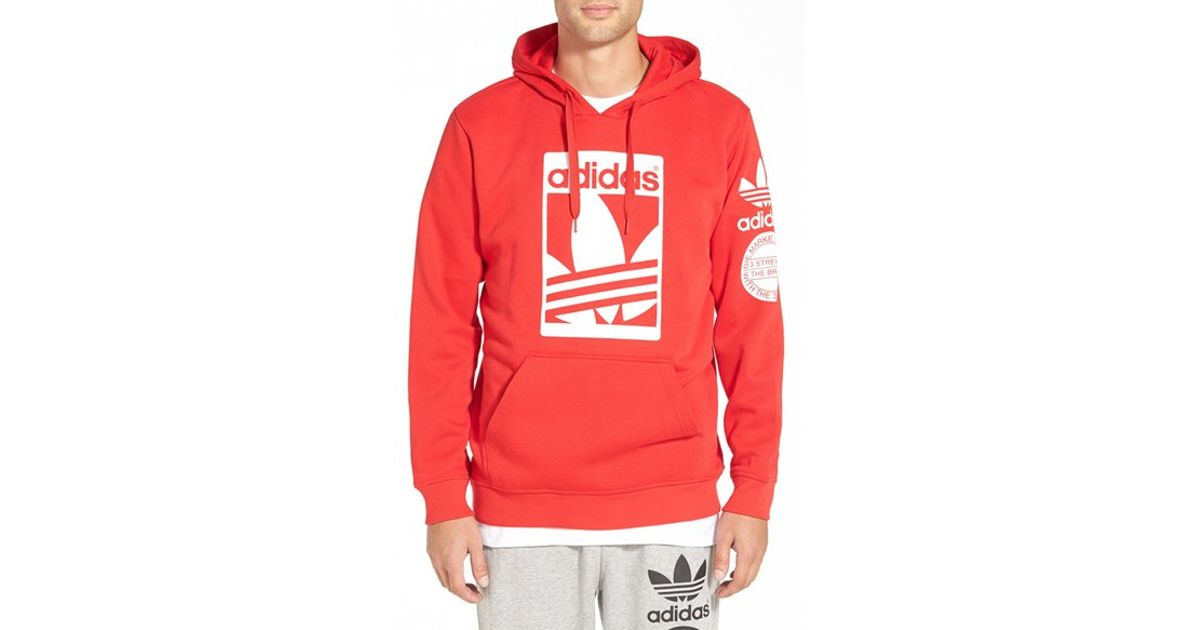 Lyst Adidas Originals Street Graphic Hoodie In Red For Men