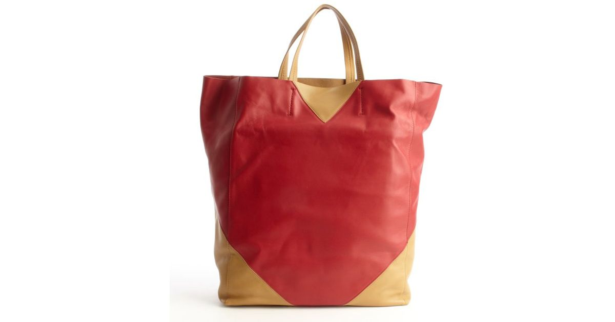 C¨¦line Red And Camel Colorblock Leather Tote Bag in Red | Lyst