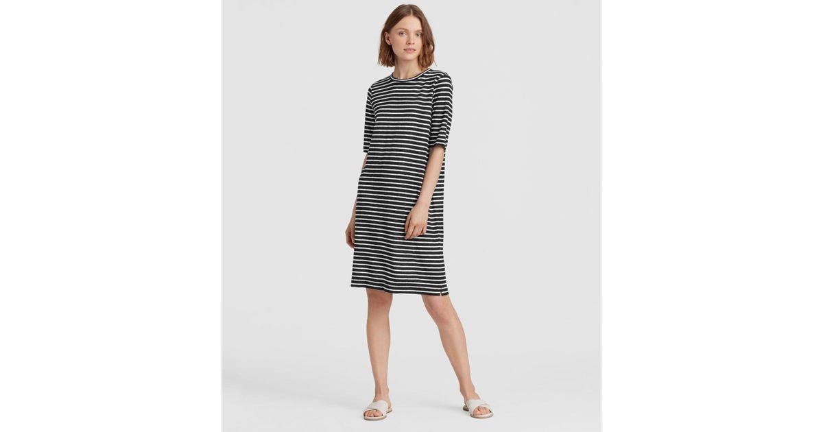b523ee7ff5 Lyst - Eileen Fisher Organic Linen Jersey Stripe Dress in Black