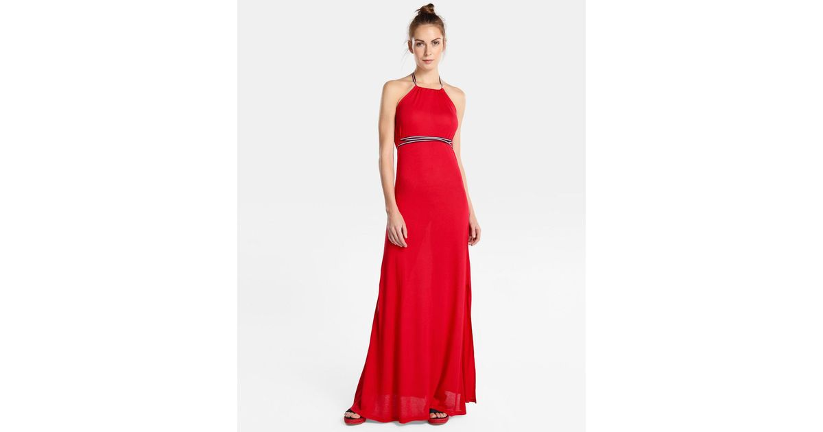Lyst - Tommy Hilfiger Long Beach Dress With Belt in Red