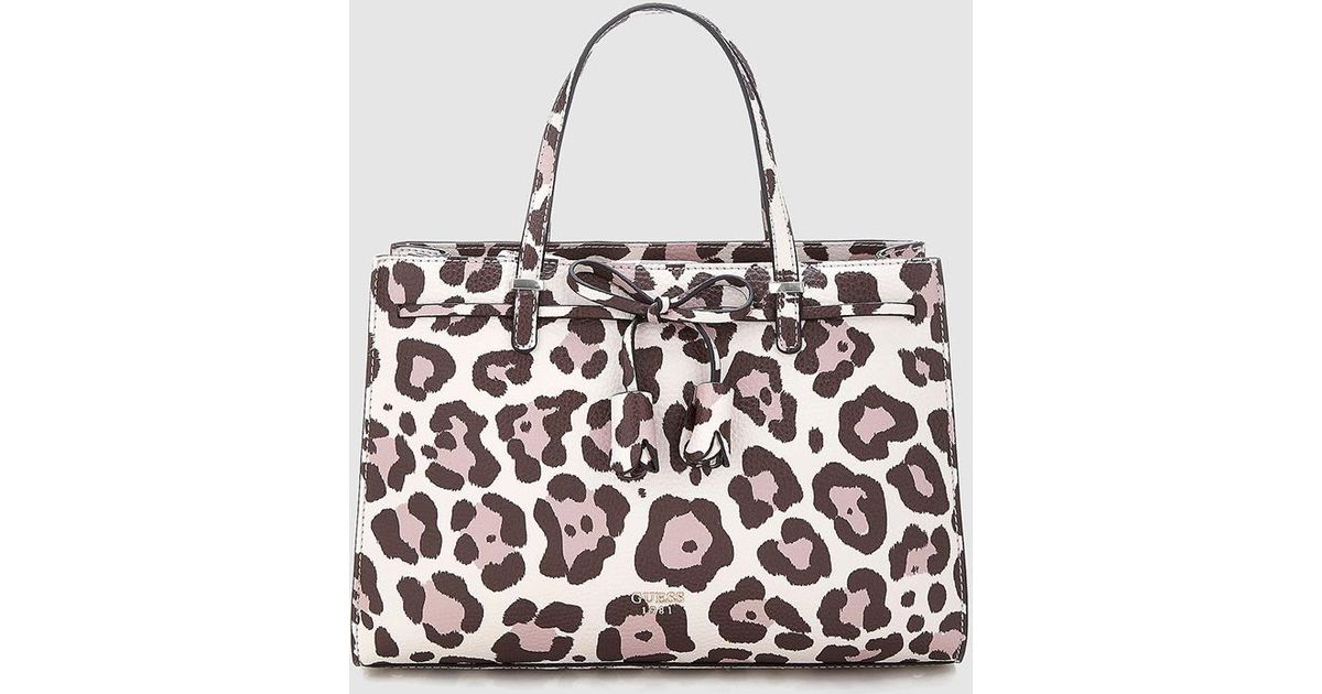 Guess Leopard Print Handbag With Bow Detail