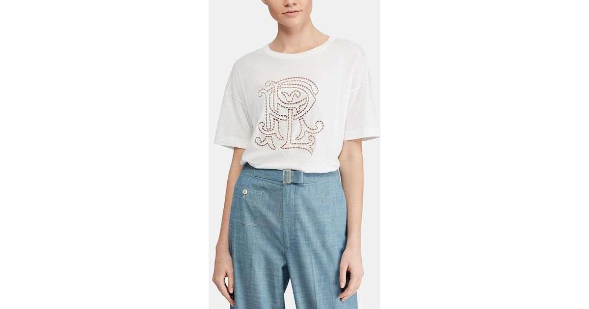 a22d27b258 Polo Ralph Lauren White T-shirt With Openwork Design in White - Lyst