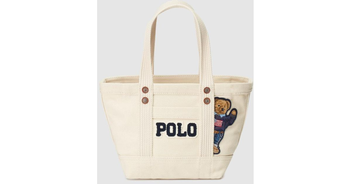a71a22b6b1 Polo Ralph Lauren Beige Canvas Mini Tote Bag With Bear Patch in Natural -  Lyst