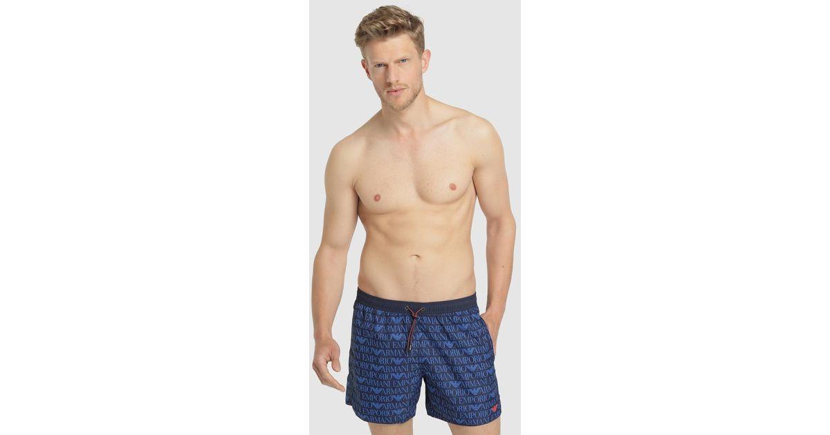 245879919a Emporio Armani - Blue Printed Swim Trunks for Men - Lyst