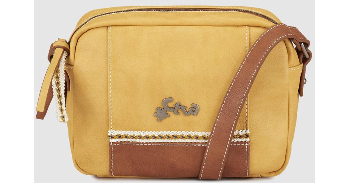 0704539ef36 Caminatta Wo Mustard Crossbody Bag With Metallic Logo - Lyst