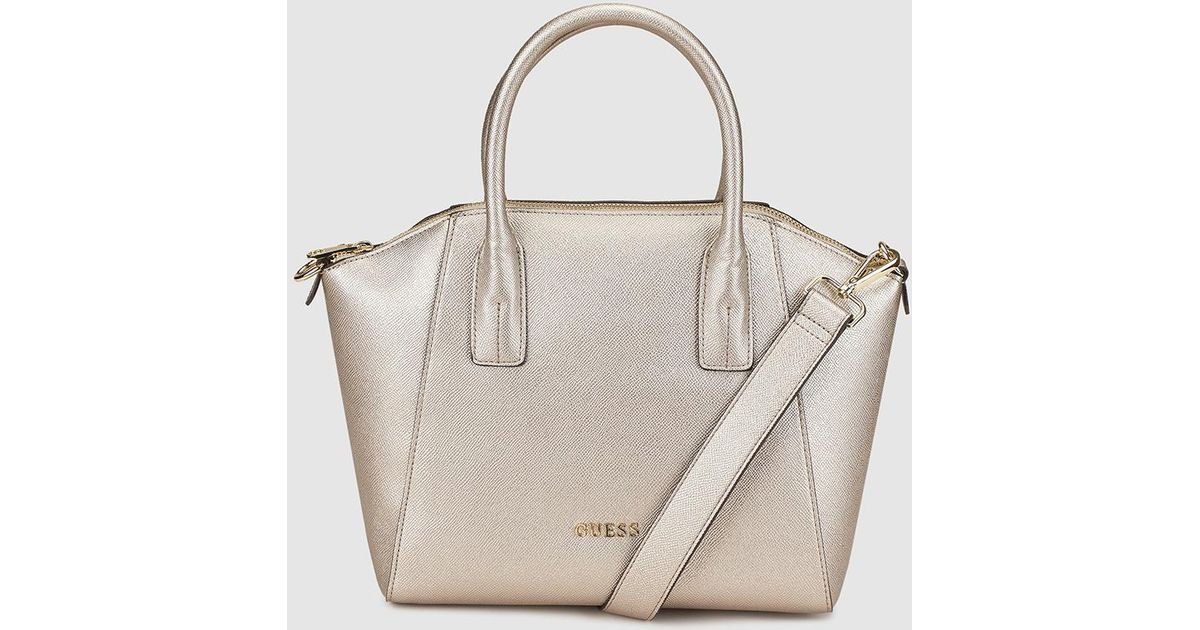 d18cac6b92164 Guess silver zipped handbag in metallic lyst jpeg 1200x630 Guess silver bag