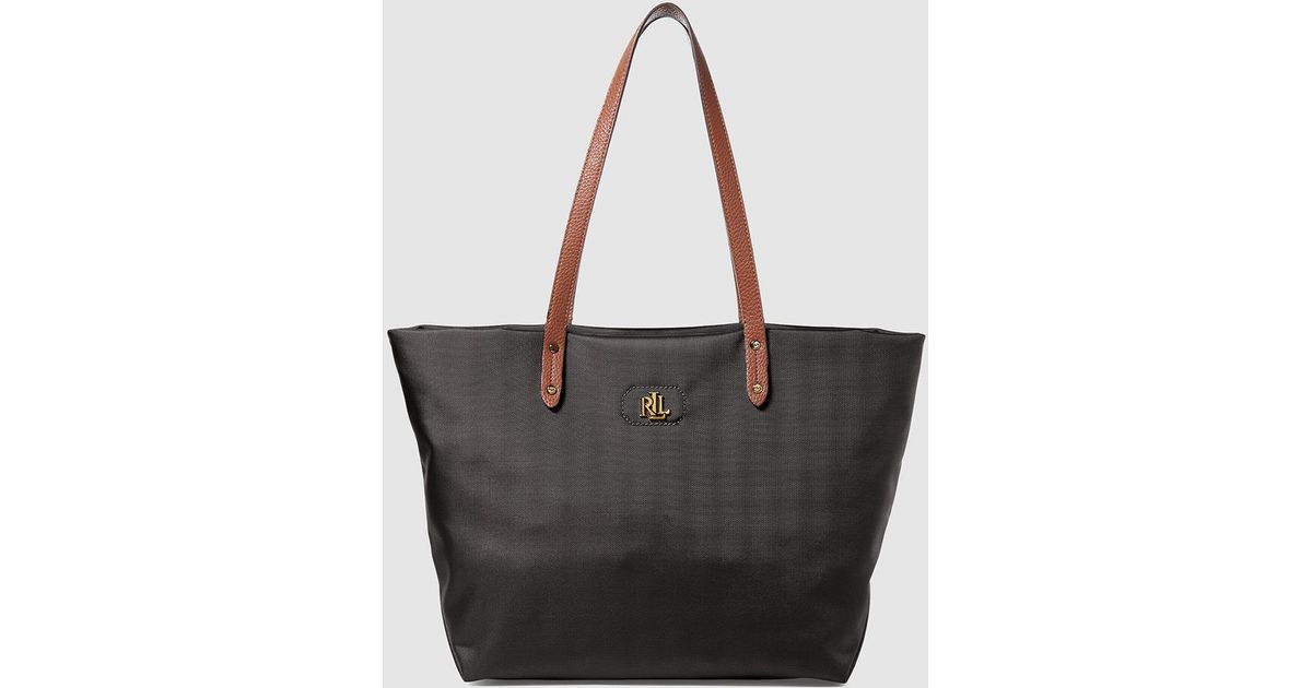 Lauren By Ralph Black Nylon Tote Bag With Gold Initials In Lyst