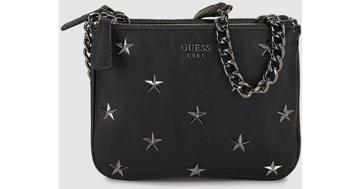Guess Small Black Crossbody Bag With Stars