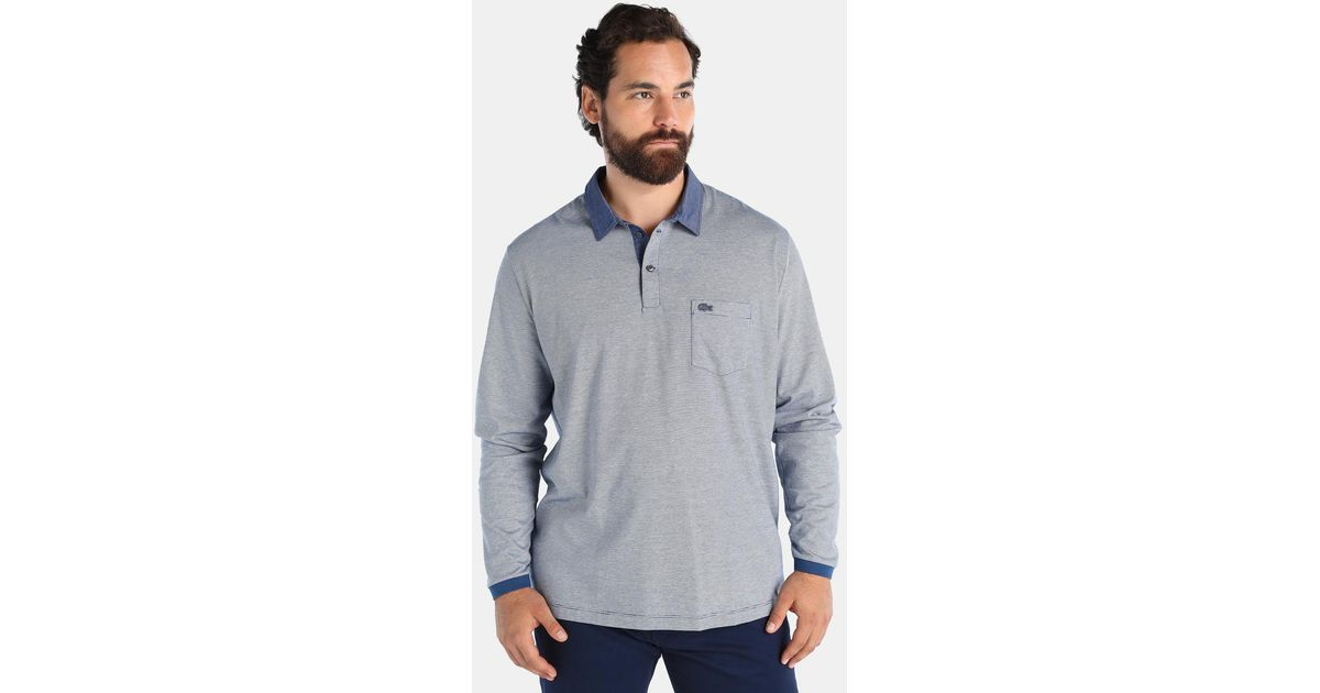 Lyst Lacoste Big And Tall Blue Long Sleeved Polo Shirt