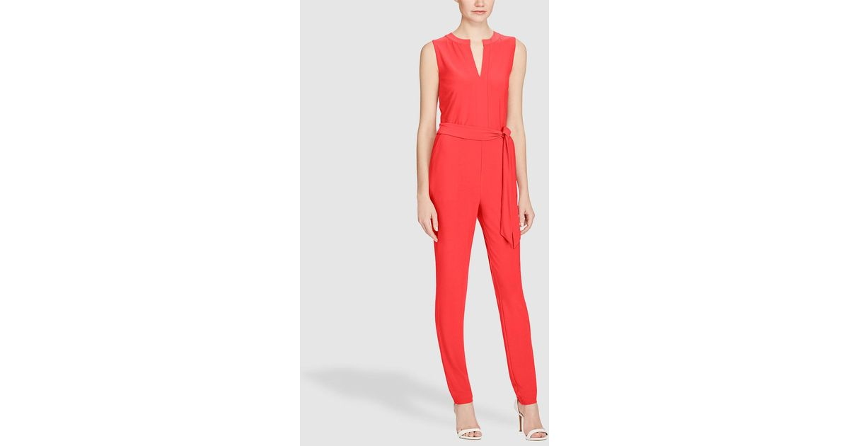 Lauren By Ralph Lauren Coral Red Jumpsuit With Tie At Waist In Red