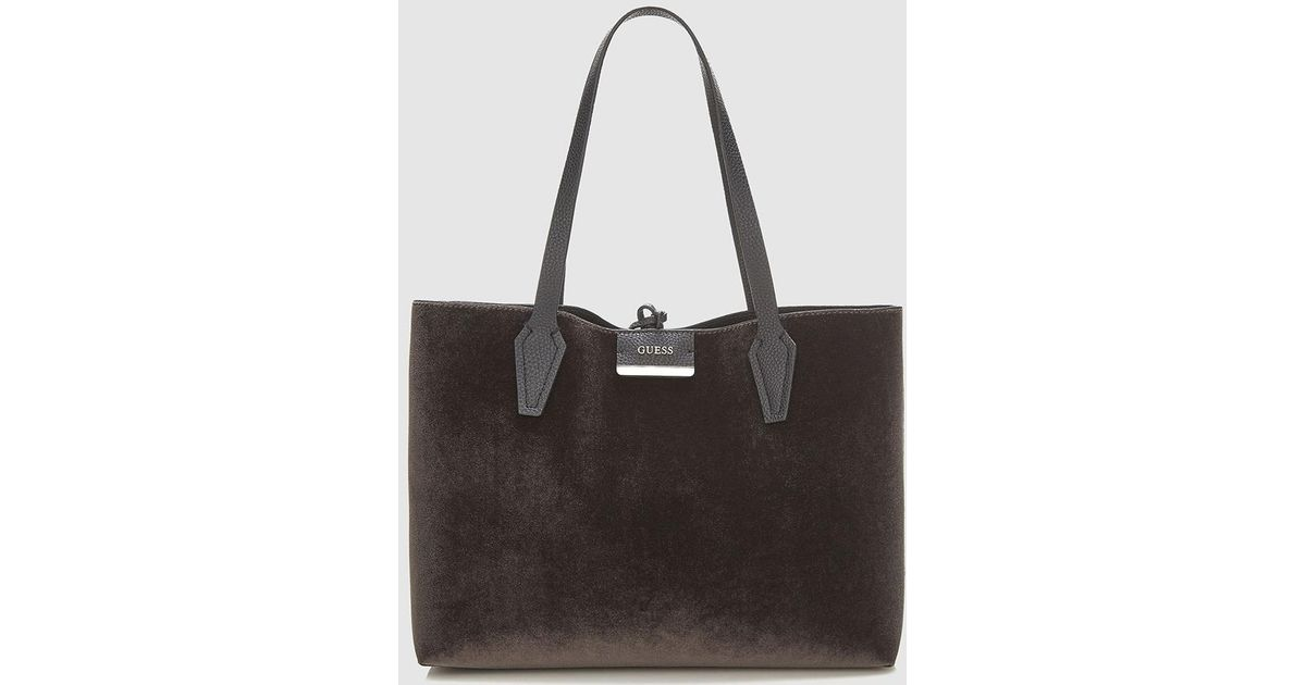 Lyst - Guess Reversible Brown Velvet And Plain Black Tote Bag in Brown a0e2c8dde7e5