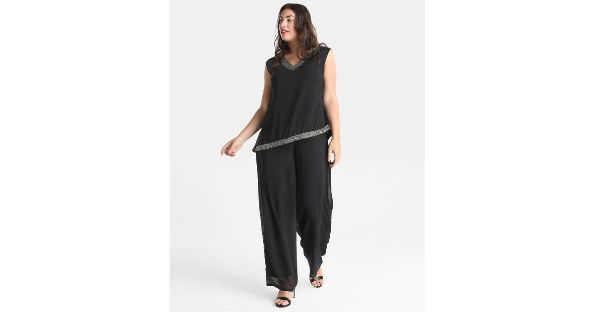 1fc49141dc5 Lyst - Couchel Plus Size Black Jumpsuit With Gemstones And Hand-sewn  Embroidery in Black