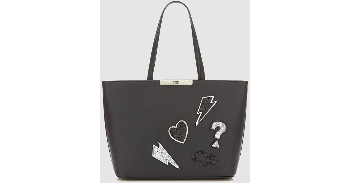 Lyst - Guess Black Tote Bag With Glitter