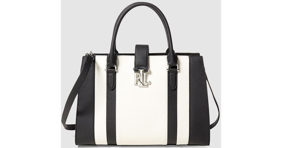 29f6950a6d6e Lyst - Lauren By Ralph Lauren Two-tone Black And White Leather Handbag With  Metallic Initials in Black