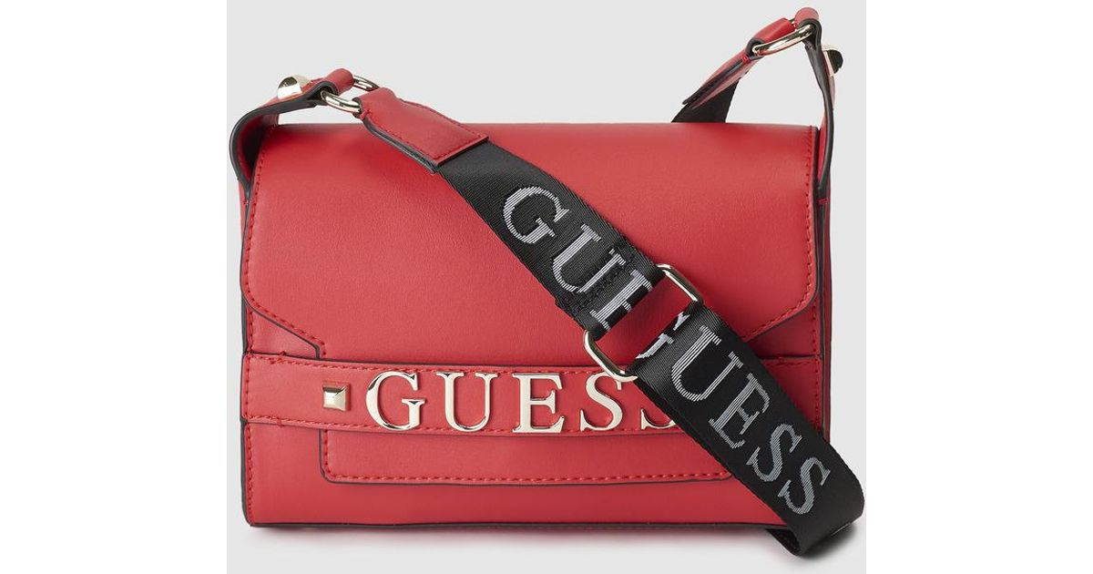 Lyst Guess Red Crossbody Bag With Brand Detail In 48e1e6b501bcf