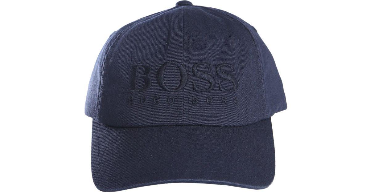 Boss By Hugo Boss Cappello In Cotone Con Logo in Blue for Men - Lyst 951de452cd3b
