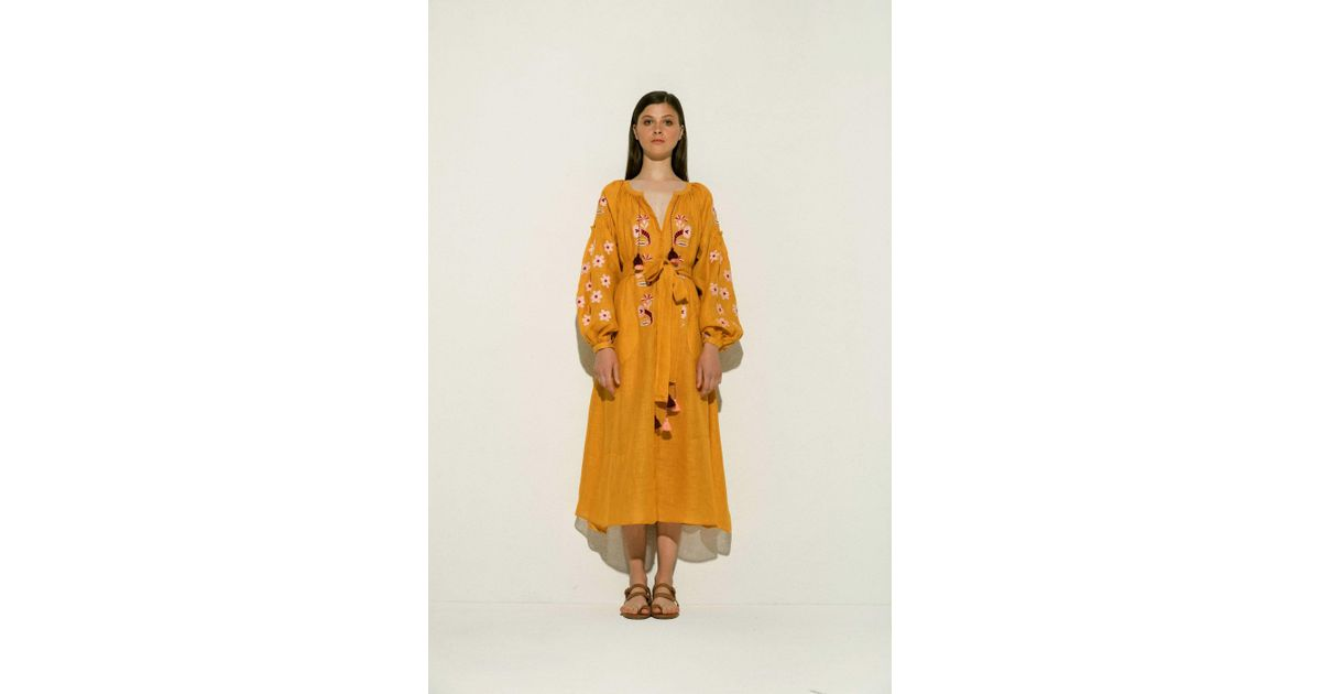 49204a40a23 Lyst - MARCH11 Arizona Linen Midi Dress In Yellow in Yellow