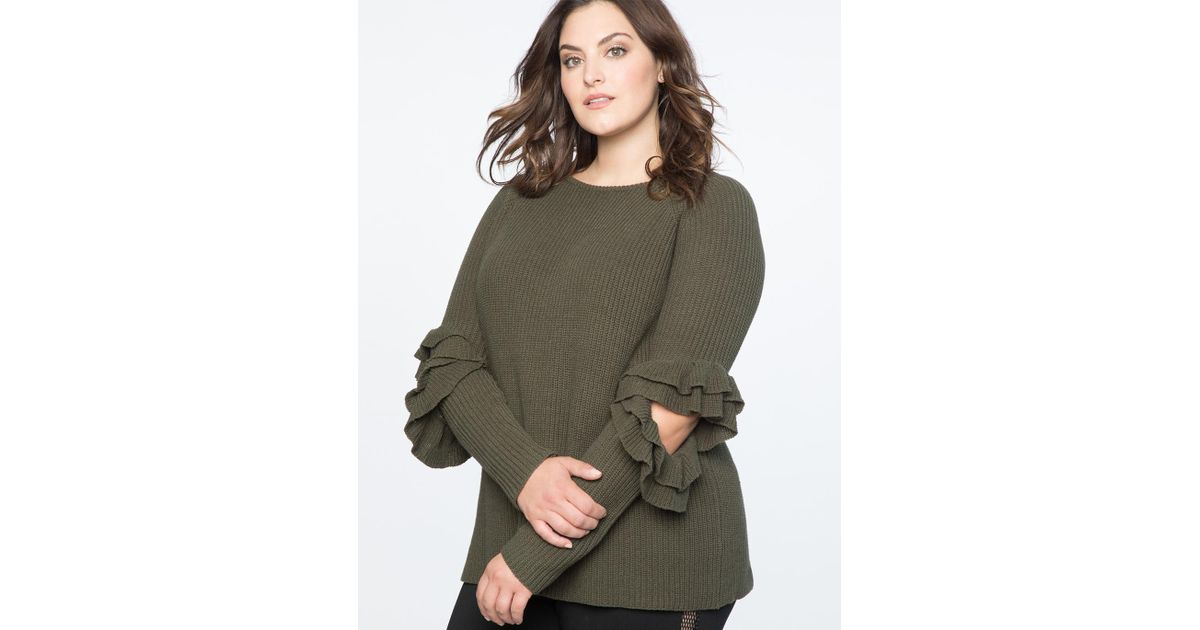 1764abb95b4466 Lyst - Eloquii Ruffled Cutout Sweater in Green
