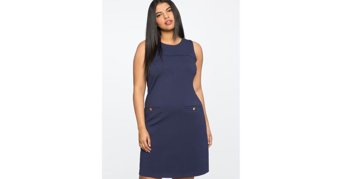 0ce654ffa8d37 Lyst - Eloquii 9-to-5 Sleeveless Stretch Work Dress in Blue