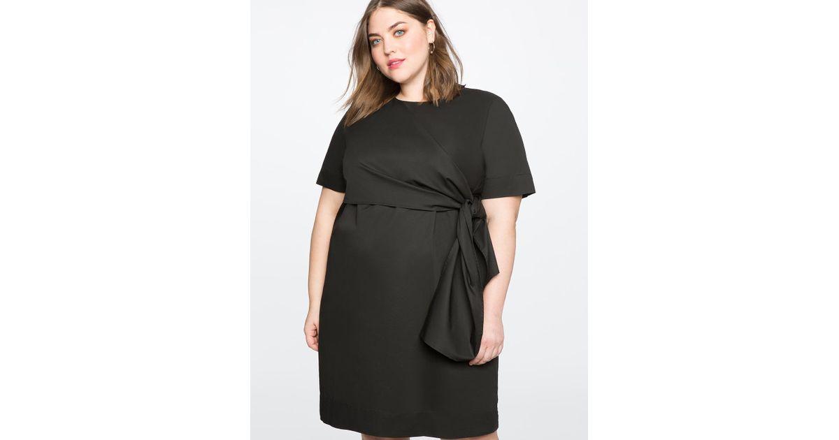 68841d5fb287 Lyst - Eloquii Knot Detail Shift Dress in Black