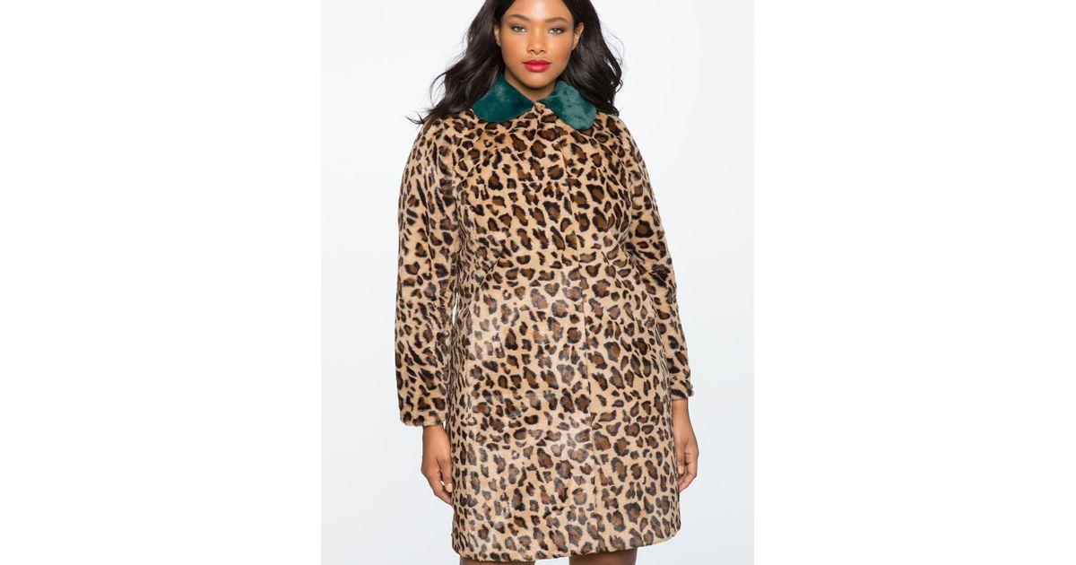 b2a5f280940 Lyst - Eloquii Leopard Coat With Fur Collar