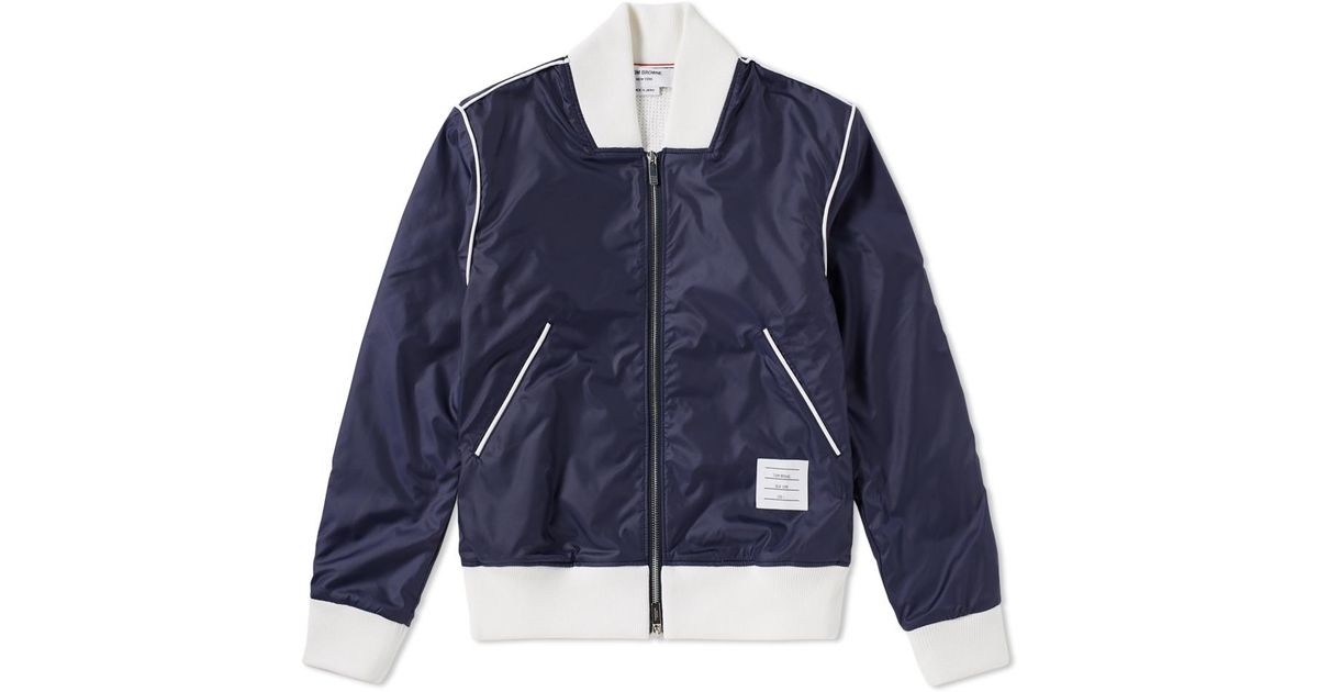 7f999f092db Thom Browne Bonded Ripstop Bomber Jacket in Blue for Men - Lyst