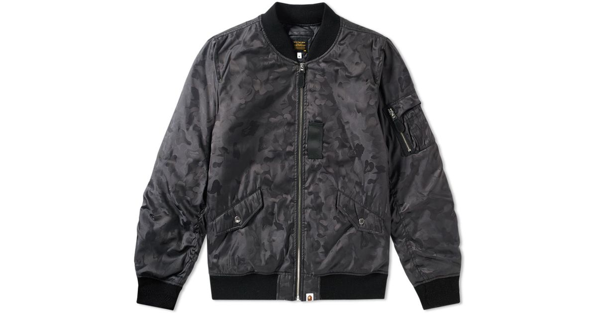 6979c878f182 Lyst - A Bathing Ape Abc Camo Jacquard Bomber Jacket in Black for Men