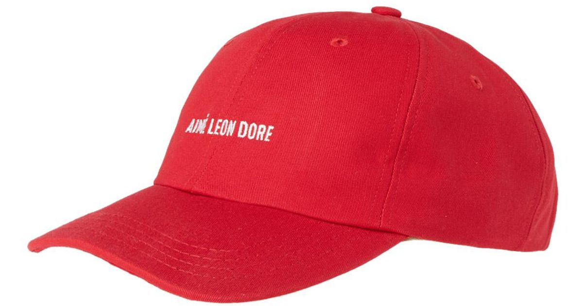 Lyst - Aimé Leon Dore Logo Cap in Red for Men ca674cbf39da