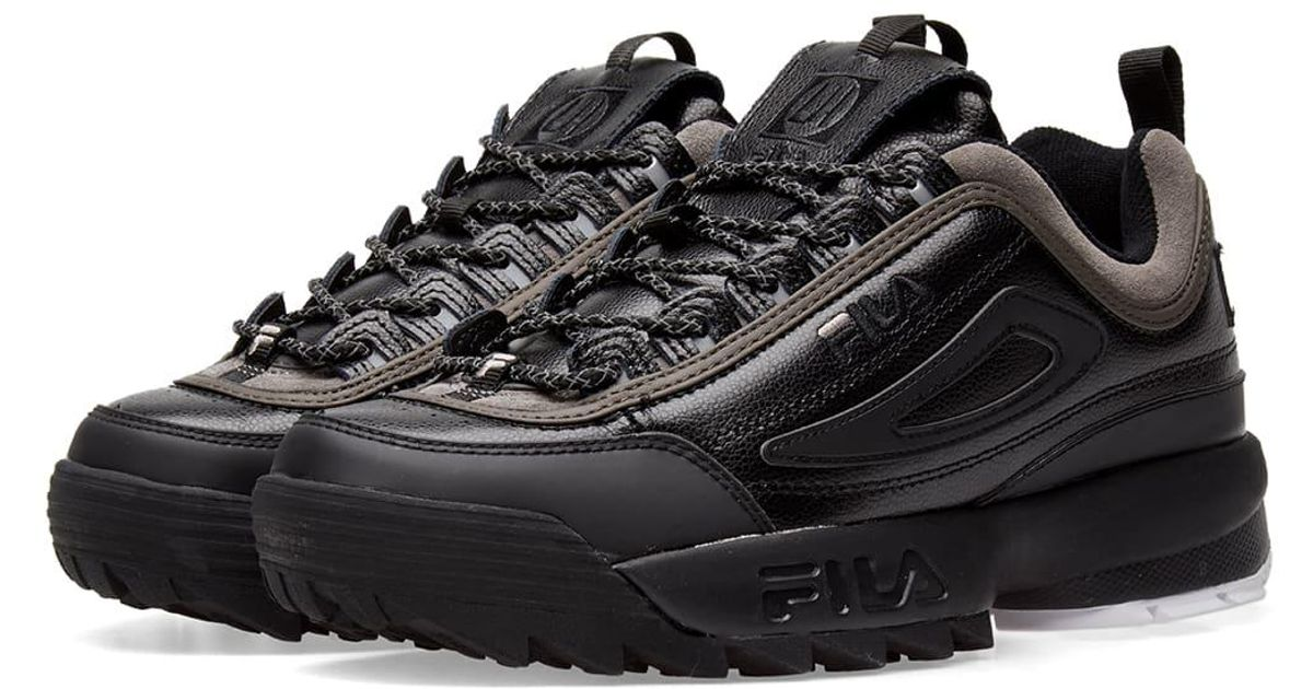 5f7bfec9515 Liam Hodges X Fila Black Disruptor Leather Sneakers in Black for Men - Lyst