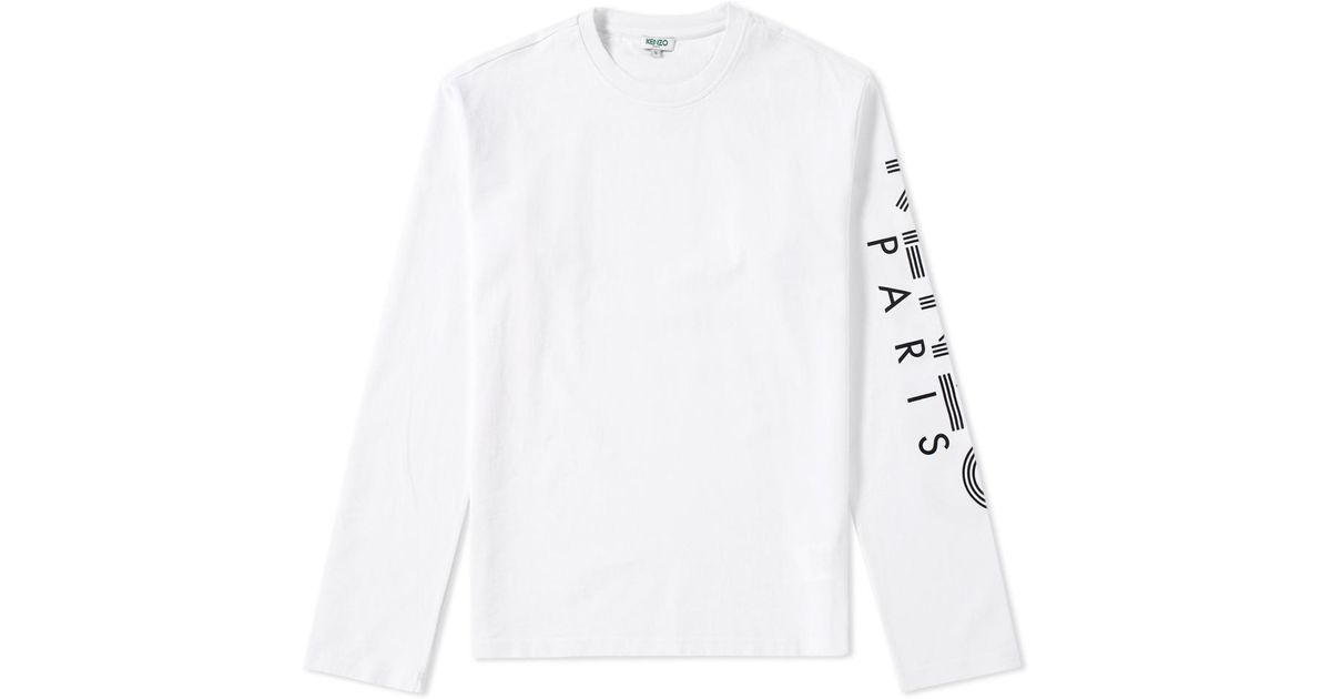 170e9e455bf KENZO Long Sleeve Arm Logo Tee in White for Men - Lyst