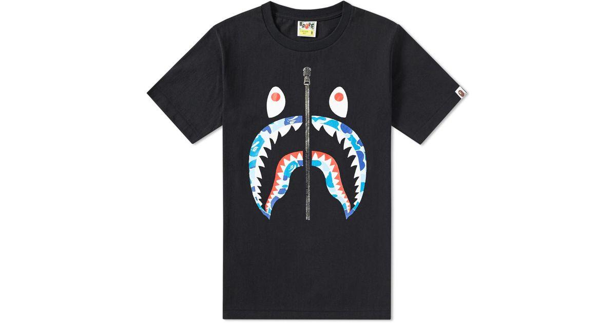 fbb423a7e090 A Bathing Ape Abc Camo Shark Tee in Black for Men - Lyst