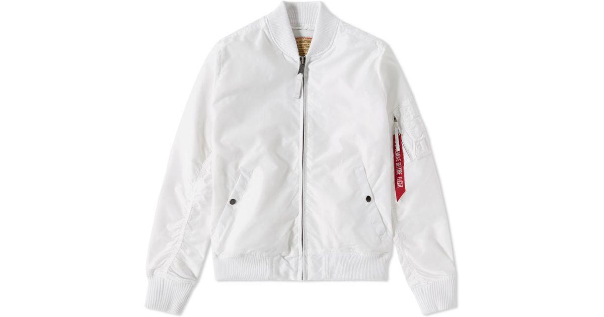 alpha industries ma 1 tt jacket in white for men lyst. Black Bedroom Furniture Sets. Home Design Ideas