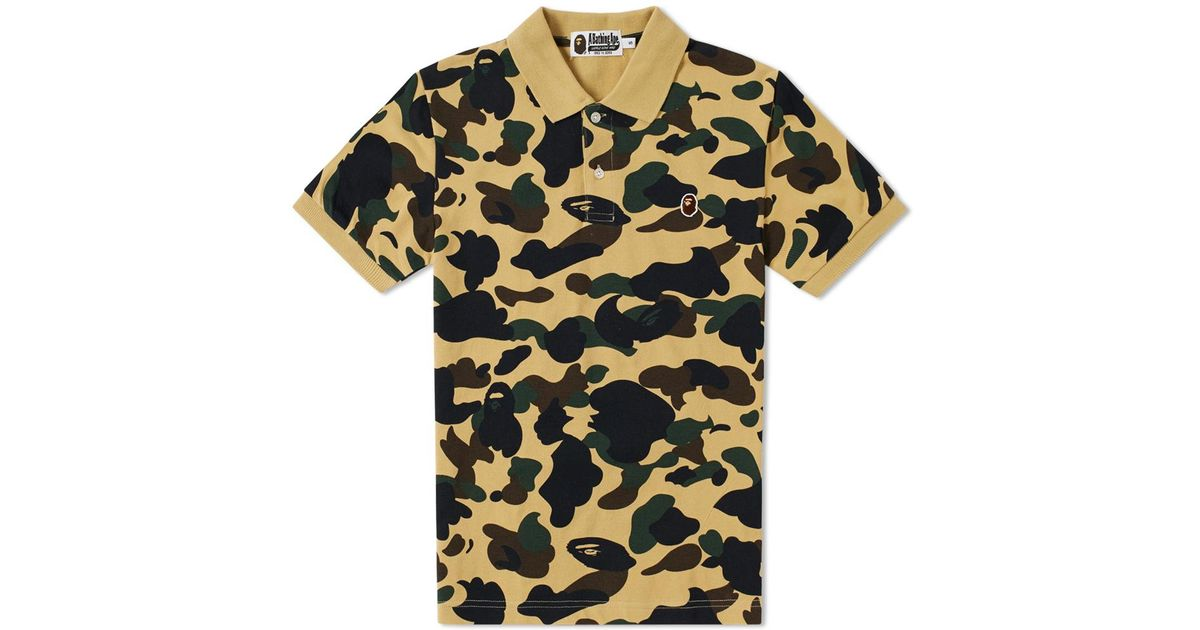 b8e7d22c81f3 Lyst - A Bathing Ape 1st Camo Ape Head One Point Polo in Yellow for Men