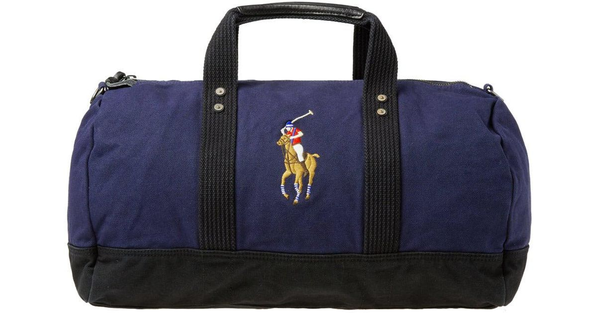 c5ff755ca5 Lyst - Polo Ralph Lauren Polo Player Canvas Duffle Bag in Blue for Men