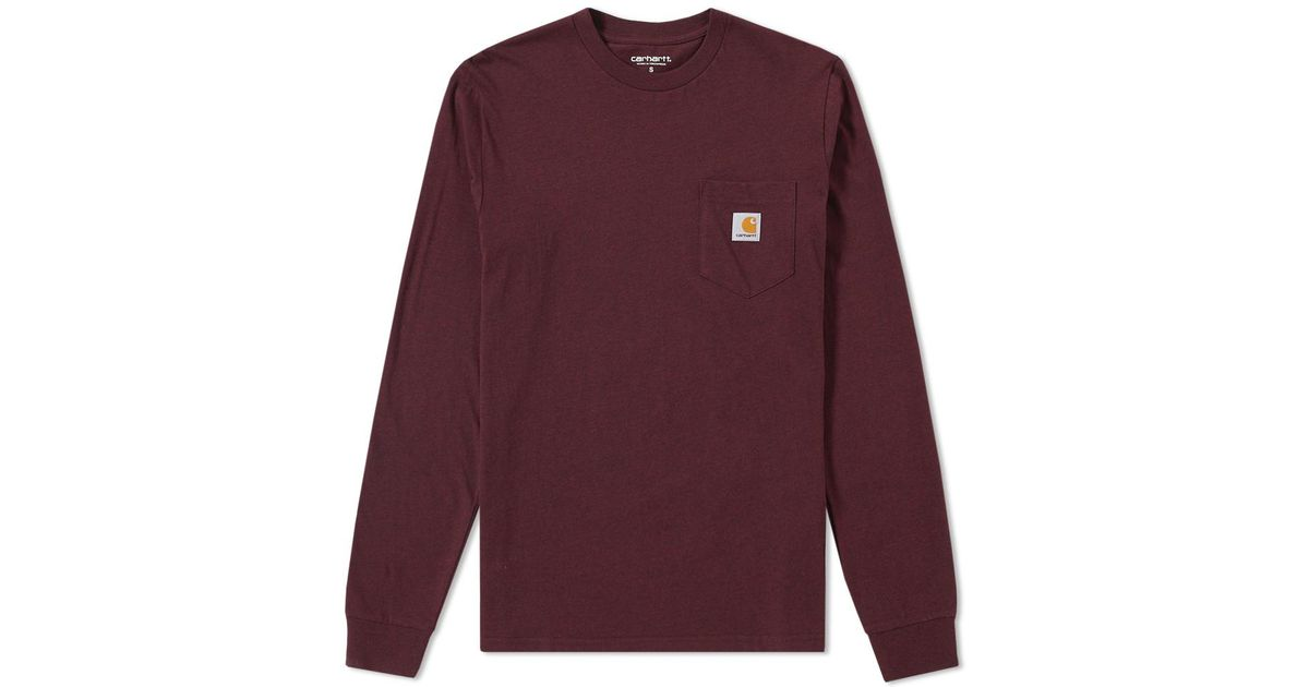 Carhartt wip long sleeve pocket tee in purple for men lyst for Carhartt burgundy t shirt