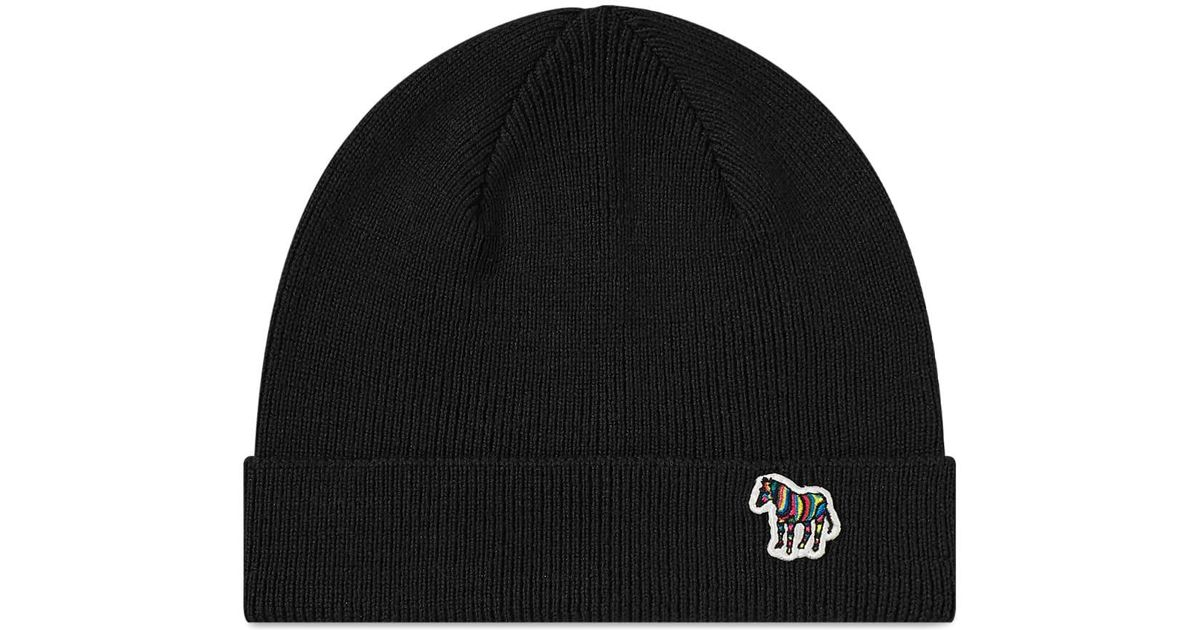a62835bbd2ffa Paul Smith Lambswool Beanie Hat in Black for Men - Save 2% - Lyst