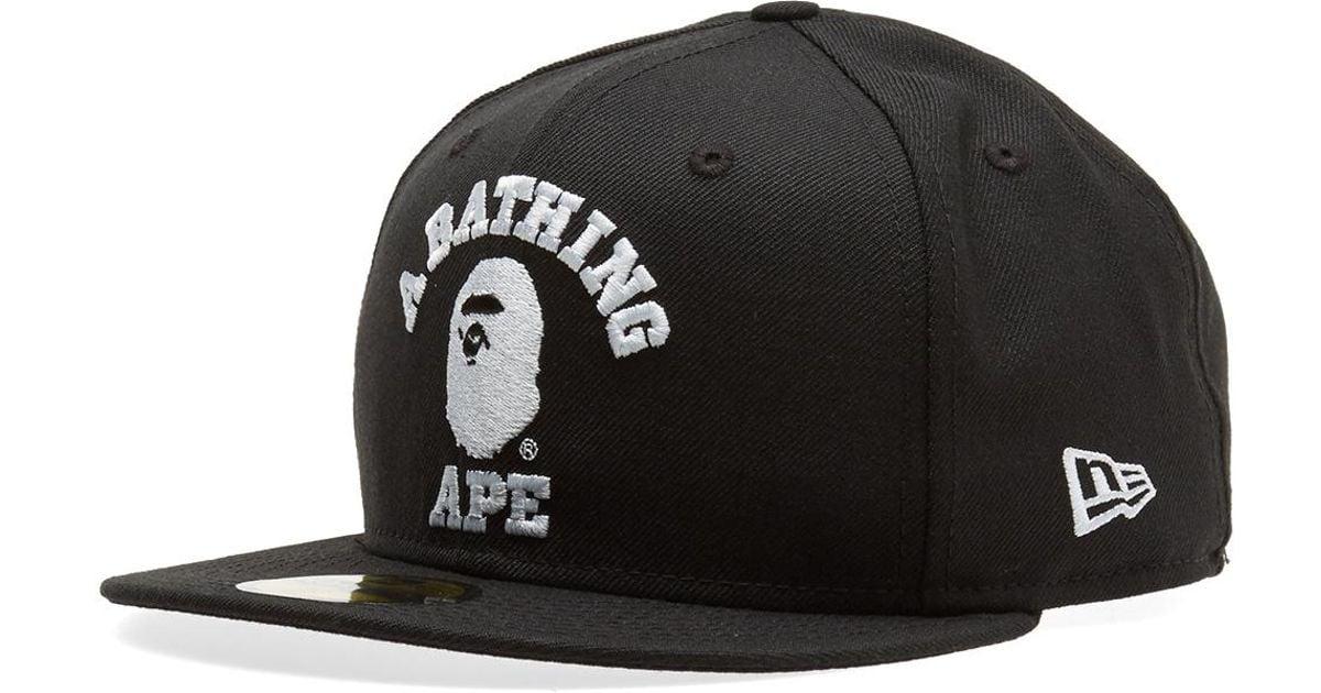 Lyst - A Bathing Ape New Era College Cap in Black for Men b9a7f1709e6