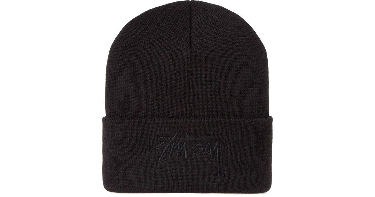 cd7163a6f27 Lyst - Stussy Tonal Stock Cuff Beanie in Black for Men