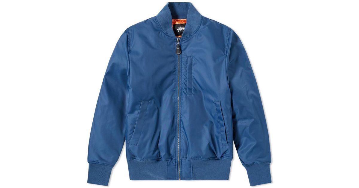 17087c72ff Stussy Blue Flight Satin Bomber Jacket for men