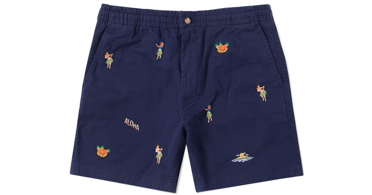 Lyst - Polo Ralph Lauren Hula Girl Embroidered Short in Blue for Men 1b11e63fbf0d